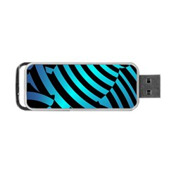 Turtle Swimming Black Blue Sea Portable Usb Flash (two Sides) by AnjaniArt