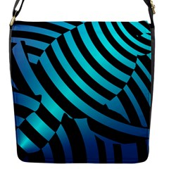 Turtle Swimming Black Blue Sea Flap Messenger Bag (s) by AnjaniArt