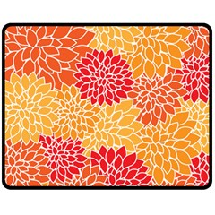 Vintage Floral Flower Red Orange Yellow Double Sided Fleece Blanket (medium)  by AnjaniArt
