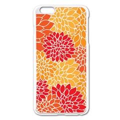 Vintage Floral Flower Red Orange Yellow Apple Iphone 6 Plus/6s Plus Enamel White Case by AnjaniArt