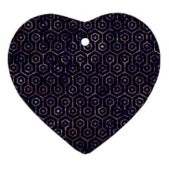 Hexagon1 Black Marble & Purple Marble Ornament (heart) by trendistuff