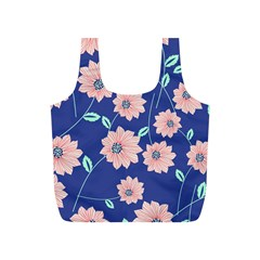 Seamless Blue Floral Full Print Recycle Bags (s)  by AnjaniArt