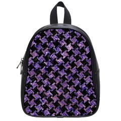Houndstooth2 Black Marble & Purple Marble School Bag (small) by trendistuff