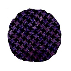 Houndstooth2 Black Marble & Purple Marble Standard 15  Premium Round Cushion  by trendistuff