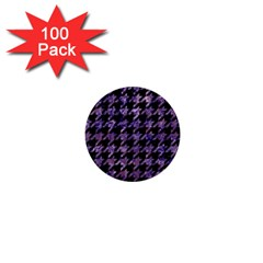 Houndstooth1 Black Marble & Purple Marble 1  Mini Button (100 Pack)  by trendistuff