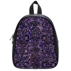 Damask2 Black Marble & Purple Marble (r) School Bag (small) by trendistuff