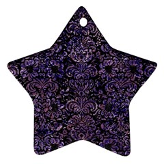 Damask2 Black Marble & Purple Marble Star Ornament (two Sides) by trendistuff