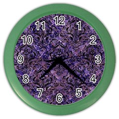 Damask1 Black Marble & Purple Marble (r) Color Wall Clock by trendistuff