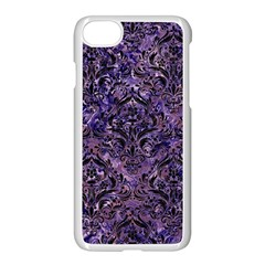 Damask1 Black Marble & Purple Marble (r) Apple Iphone 7 Seamless Case (white) by trendistuff