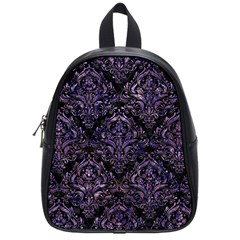 Damask1 Black Marble & Purple Marble School Bag (small) by trendistuff