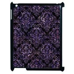 Damask1 Black Marble & Purple Marble Apple Ipad 2 Case (black) by trendistuff