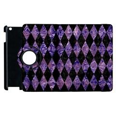 Diamond1 Black Marble & Purple Marble Apple Ipad 2 Flip 360 Case by trendistuff