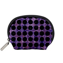 Circles1 Black Marble & Purple Marble (r) Accessory Pouch (small) by trendistuff