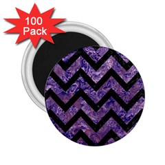Chevron9 Black Marble & Purple Marble (r) 2 25  Magnet (100 Pack)  by trendistuff
