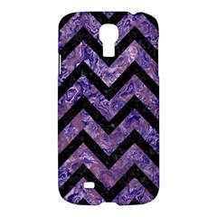 Chevron9 Black Marble & Purple Marble (r) Samsung Galaxy S4 I9500/i9505 Hardshell Case by trendistuff