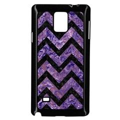 Chevron9 Black Marble & Purple Marble (r) Samsung Galaxy Note 4 Case (black) by trendistuff