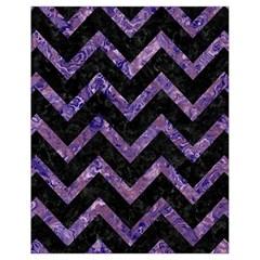 Chevron9 Black Marble & Purple Marble Drawstring Bag (small) by trendistuff