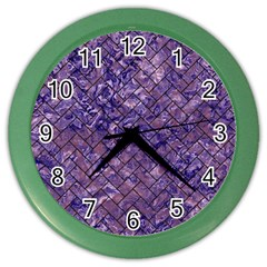 Brick2 Black Marble & Purple Marble (r) Color Wall Clock by trendistuff