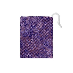 Brick2 Black Marble & Purple Marble (r) Drawstring Pouch (small) by trendistuff