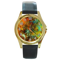 Mixed Abstract Round Gold Metal Watch