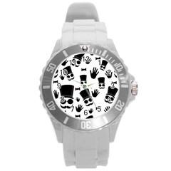 Gentleman Pattern Round Plastic Sport Watch (l) by Valentinaart
