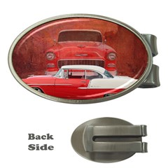 Classic Car Chevy Bel Air Dodge Red White Vintage Photography Money Clips (oval)  by yoursparklingshop