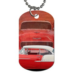 Classic Car Chevy Bel Air Dodge Red White Vintage Photography Dog Tag (two Sides) by yoursparklingshop