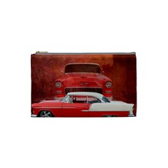 Classic Car Chevy Bel Air Dodge Red White Vintage Photography Cosmetic Bag (small)  by yoursparklingshop