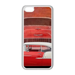 Classic Car Chevy Bel Air Dodge Red White Vintage Photography Apple Iphone 5c Seamless Case (white) by yoursparklingshop