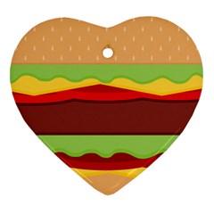 Cake Cute Burger Copy Heart Ornament (2 Sides) by Jojostore