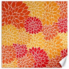 Vintage Floral Flower Red Orange Yellow Canvas 12  X 12   by Jojostore