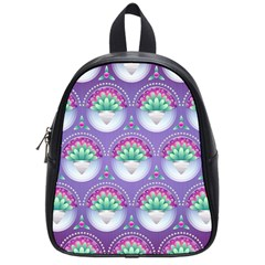 Background Floral Pattern Purple School Bags (small)  by Amaryn4rt