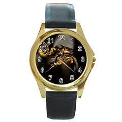 Fractal Mathematics Abstract Round Gold Metal Watch
