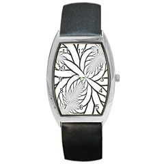 Fractal Symmetry Pattern Network Barrel Style Metal Watch by Amaryn4rt