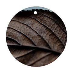 Leaf Veins Nerves Macro Closeup Round Ornament (two Sides)  by Amaryn4rt