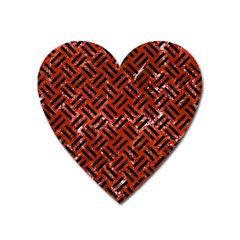 Woven2 Black Marble & Red Marble (r) Magnet (heart) by trendistuff