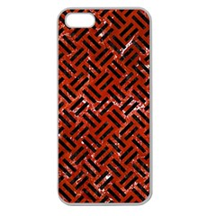 Woven2 Black Marble & Red Marble (r) Apple Seamless Iphone 5 Case (clear) by trendistuff
