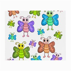 Colorful, Cartoon Style Butterflies Small Glasses Cloth by Valentinaart