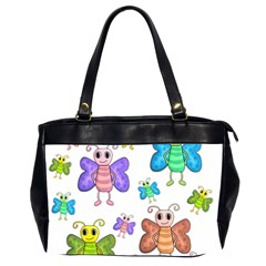Colorful, Cartoon Style Butterflies Office Handbags (2 Sides)  by Valentinaart