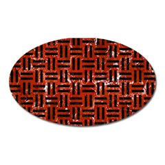 Woven1 Black Marble & Red Marble (r) Magnet (oval) by trendistuff