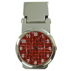 Woven1 Black Marble & Red Marble (r) Money Clip Watch by trendistuff