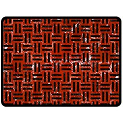 Woven1 Black Marble & Red Marble (r) Double Sided Fleece Blanket (large) by trendistuff