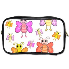 Cute Butterflies Pattern Toiletries Bags 2 Side by Valentinaart