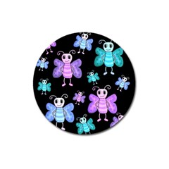 Blue And Purple Butterflies Magnet 3  (round) by Valentinaart