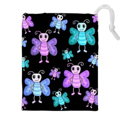 Blue And Purple Butterflies Drawstring Pouches (xxl) by Valentinaart
