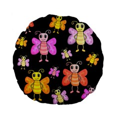 Cute Butterflies, Colorful Design Standard 15  Premium Flano Round Cushions by Valentinaart