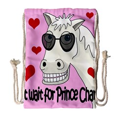Don t Wait For Prince Charming Drawstring Bag (large) by Valentinaart