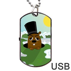 Groundhog Dog Tag Usb Flash (two Sides)  by Valentinaart