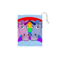 Unicorn Love Drawstring Pouches (xs)  by Valentinaart