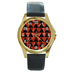 Triangle2 Black Marble & Red Marble Round Gold Metal Watch by trendistuff
